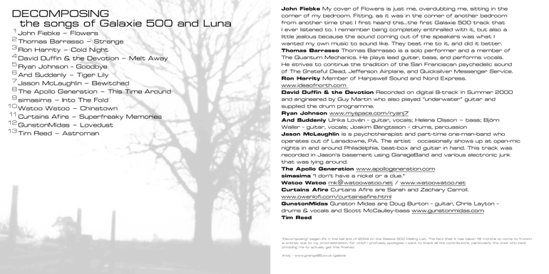 Decomposing - a fan tribute to Galaxie 500 and Luna